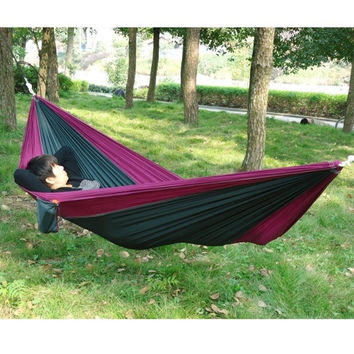 Portable Outdoor Traveling Camping Parachute Nylon Fabric Hammock For Two Person = 1945724036