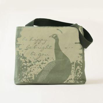 """Happy"" peacock photo olive green canvas tote"