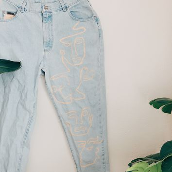 Face to Face Too Painted Light Wash High-Rise Jeans