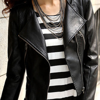 Black Leather Long Sleeve Zipper Jacket