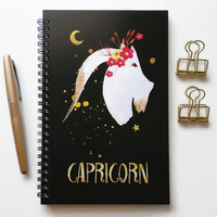 Writing journal, spiral notebook, bullet journal, black sketchbook, cute notebook, blank lined grid, zodiac sign, astrology - Capricorn