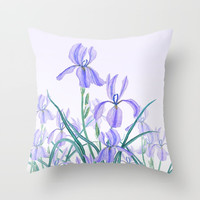 purple iris watercolor Throw Pillow by Color and Color