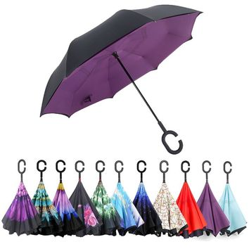 Inverted Umbrella, ELOVTOP Windproof Cars Double Layer Folding Reverse Umbrella