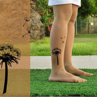 Tattoo Tights  DANDELION  size L / XL  full length by Hakosem