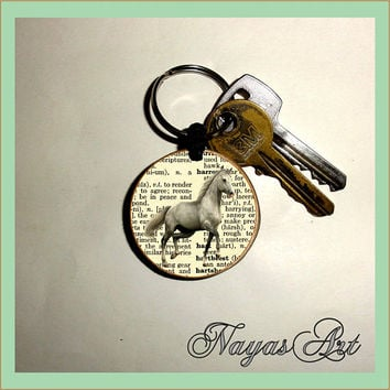 Horse Custom Keychain Cute personalized.Accessories Horse keyring. White Wood Handmade Keyring Keychain. Unique keychain Wooden natural gift