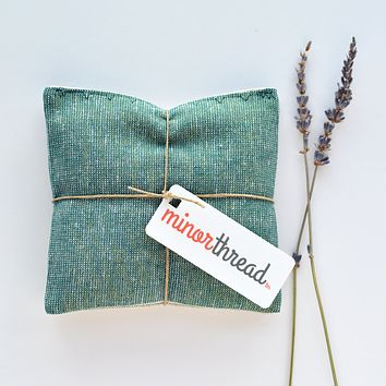 Organic Lavender Sachets in Metallic Emerald Linen- Set of 2
