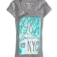 Aero 1987 NYC Glittery V-Neck Graphic T