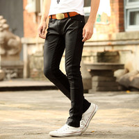 Leather Patch Men Skinny Fit Casual Pants