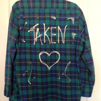 "Plaid flannel ""Taken"" hand painted shirt with heart // soft grunge"