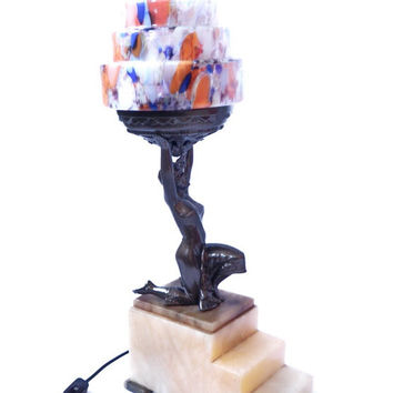 Art Deco 1920s Table Lamp, Flapper Sculpture, Czech Spatter Glass Wedding Cake, Skyscraper Tiered Shade, Rare Vintage Lighting