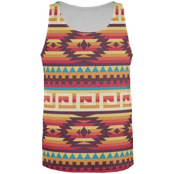 Native American Pattern Red All Over Adult Tank Top