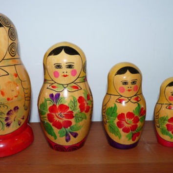 Vintage Russion Doll, Set of five, Matryoshka, Nesting Dolls, Folk Art, Wooden, Hand Painted, Made in USSR, Russian