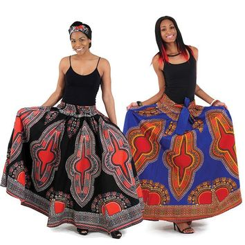 Traditional Print Maxi Skirt with Matching Head Wrap