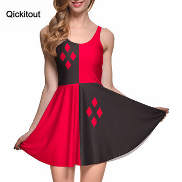 Drop Ship Fashion Women Digital Printing HARLEY QUINN REVERSIBLE SKATER DRESS Vestidos Roupas Femininas Saias