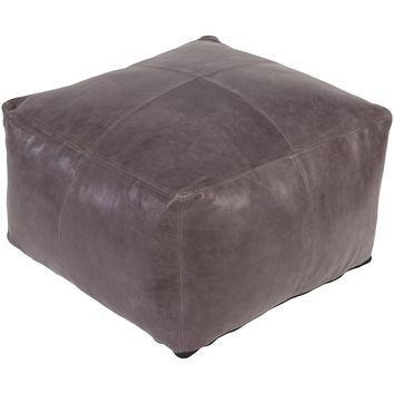 Square Leather Ottoman | Grey