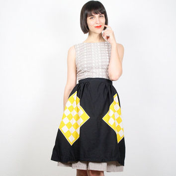 Vintage Apron Half Apron Black Yellow White Checkered Flag Print Waist Apron Retro Mad Men Mid Century Kitchen Apron Hostess Gift For Her