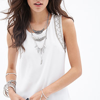 FOREVER 21 Beaded Crepe Top Cream
