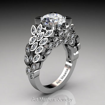 Art Masters Renoir 14K White Gold 3.0 Ct White Sapphire Diamond Floral Engagement Ring Wedding Ring R299-14KWGDWS