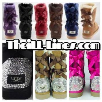 DCCK8X2 Custom Bailey Bow UGG Boots made with Swarovski Bailey Bow Free: Shipping, Repair Kit,
