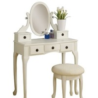 Poundex Cottage Vanity Set with Stool, White