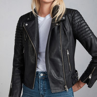 ALLSAINTS CA: Womens Papin Leather Biker Jacket (black)