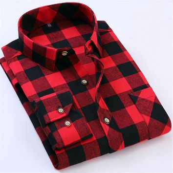 Red Black Plaid Men Shirt Slim Fit Long Sleeve Tartan Flannel Male