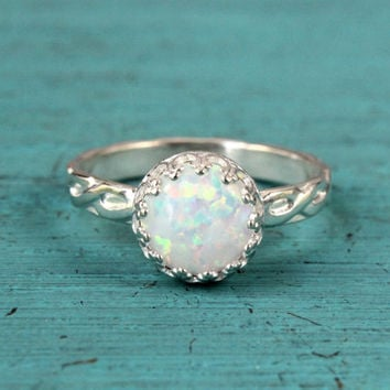White opal ring, sterling silver floral band, 8 mm crown princess setting, engagement promise October birthstone bridesmaid gift, stackable