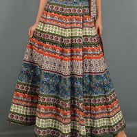 This maxi skirt features an A-line cut, colorful paisley mixed bohemian pattern prints, side tie wrap around style maxi skirt, self-tie at waist.