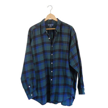 2XL Ralph Lauren Flannel Flannel Shirt Green Flannel Men Flannel Shirt Blue Flannel Plaid Flannel Shirt 90s Grunge Lumberjack Flannel 1990s
