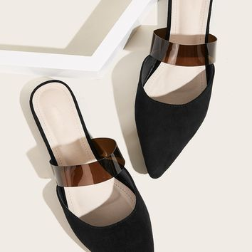 Point Toe Faux Suede Flat Mules