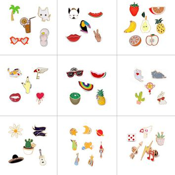 5-8 Pcs/set Enamel Pin Cactus Plant Glasses Cats Rainbow Rocket Arrow Musical Note Fruit Banana Brooch Lapel Pins Badge Brooches
