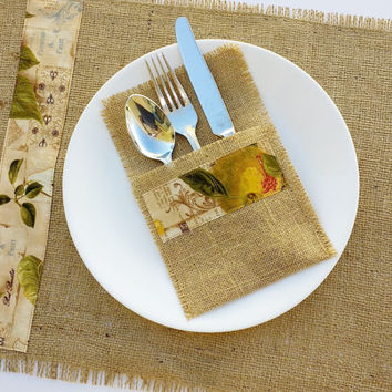Four Burlap Table Ware Sets - Rustic Wedding Decoration - Burlap Place Settings - Place Mats & Silverware Holders - Country Chic Table Decor