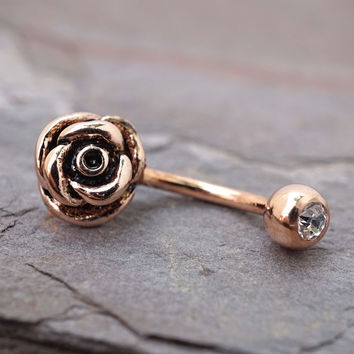 14kt Rose Gold Rose Daith Rook Piercing Daisy