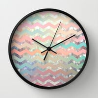 New World Chevron Pastel Wall Clock by Sandra Arduini