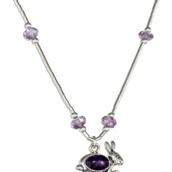 """Sterling Silver 16-18"""" Adjustable Liquid Silver And Amethyst Rabbit Necklace"""