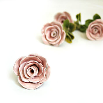 Ceramic Rose Knobs and Pulls for the Shabby Chic Home Decor, Rose Dresser Knob and Drawer Pull Fixtures