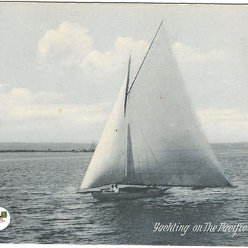 Yachting on The Pacific in Blue Gray tones Sailboat on Open Sea Newman Post Vintage Postcard