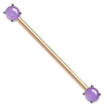 BodyJ4You Industrial Barbell Created-Amethyst Lt.Purple Earring Body Piercing Jewelry 14G Stainless Steel