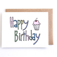 Cute Happy Birthday Card - Illustrated Cupcake Birthday Card by Yellow Daisy Paper Co.
