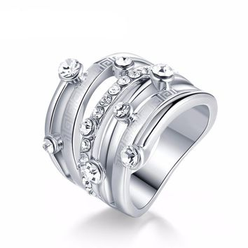White Gold Color Bridal Rings Rhinestones Stack Ring