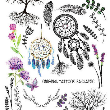 2016 Multi-style Fashion Cool Temporary Tattoo with Tree and Dreamcatchers 21x15cm