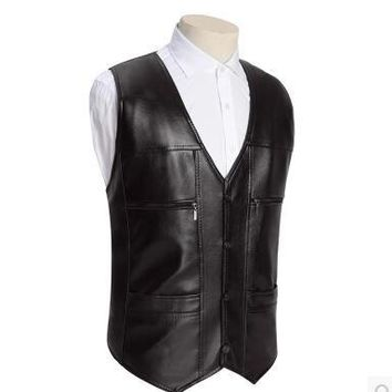 High quality Men's PU Leather vest Clothing Motorcycle Vest w/14 Patches Halley Punk Vest Sleeveless Jacket New