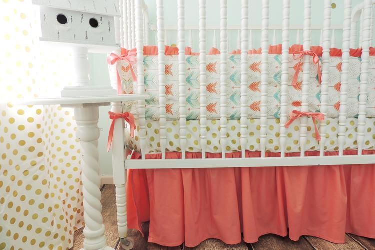Gold Arrow Baby Bedding Aqua Coral Crib Set: Deer Crib Sheet Coral Gold At Alzheimers-prions.com