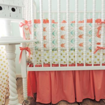 Gold Arrow Baby Bedding | Aqua, Coral Crib Bedding Set