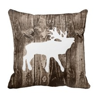 Bugling Elk on Rustic Wood Cabin Throw Pillow