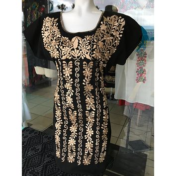 Mexican Embroidered Mini Dress Black and Gold