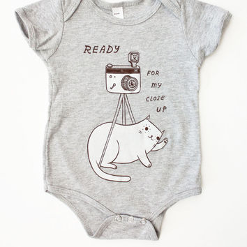 "Baby Photo Outfit ""Ready For My Close Up"" Onesuit Baby Clothing - Grey Cat Onesuit, Baby Camera Cat Onesuit"