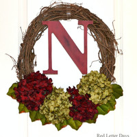 Hydrangea Wreath, Red and Green Floral Grapevine, Custom Wreath with Initial