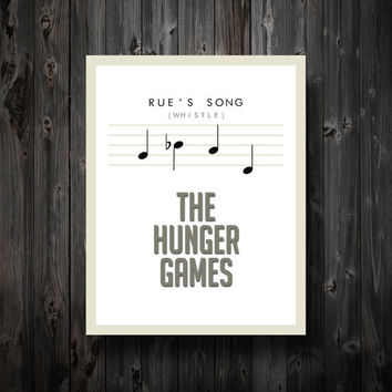 "Rue's Song Hunger Games Inspired Poster 11"" x 14"" in White"