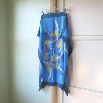 Shades of Blue Floral Vintage Silk Scarf - Pink/Yellow/Navy/Turquoise Flower Scarf - Large Blue Silk Scarf - Floral Table - Noir Boudoir
